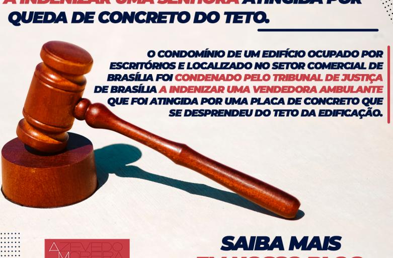 Condomínio sem seguro é condenado a indenizar senhora atingida por queda de concreto do teto.